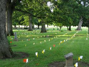 Flags Mark Pioneer Graves